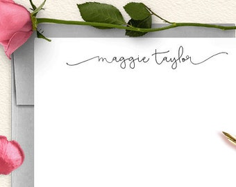 Personalized Stationery, Note Cards, Thank You Cards, Stationary Set, Thank You Notes, Calligraphy, Script, Swash, Modern, Flat Cards, CS01