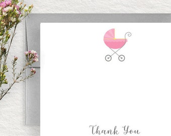 Baby Shower Thank You Cards, Baby Stationery, Baby Stationary,  Baby Shower Gift, Baby Stationery Set, Baby Carriage, Girl, Pink BS01