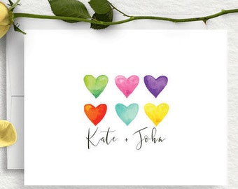 Personalized Stationery, Wedding Thank You Cards, Couples Stationary, Thank You Notes,  Bridal Shower, Engagement Gift, Hearts, Folded, WS15