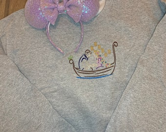 Rapunzel and Flynn Boat Scene embroidered quarter zip, hoodie or pullover