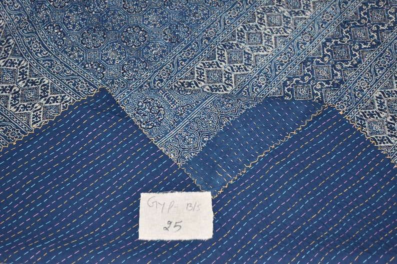 Cotton Ajarak printed Indian handmade kantha quilt kantha bedspread decorative  Ralli Bedspread Bedding India  108x108 GYP-BS25