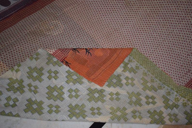 Queen Size Reversible Kantha Blanket Vintage Cotton Sari Patchwork Bed Throw 013