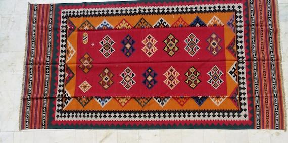 5 X 7 Tapis Tapis Rouge Tapis Kilim Turc Tapis Marocain Etsy