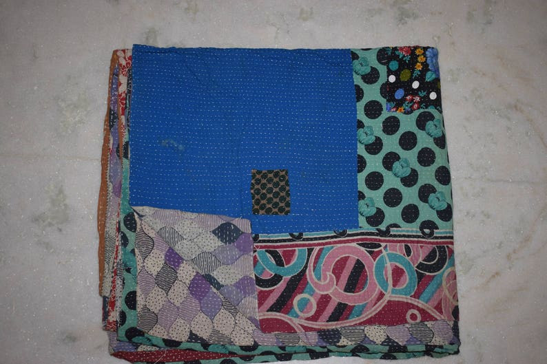 Vintage kantha Quilt Handmade kantha sari Throw 493