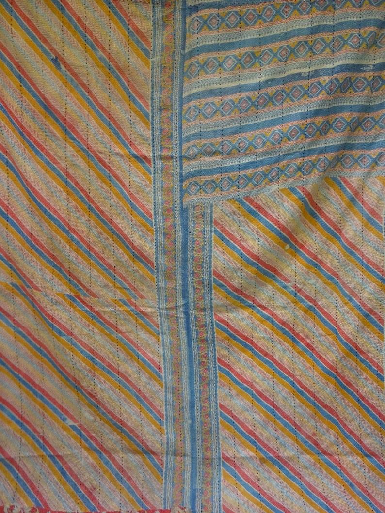 Awesome Vintage Kantha Quilt Rug Throw Blanket Unique Old Hand Stitches Handwork Cotton Quilt