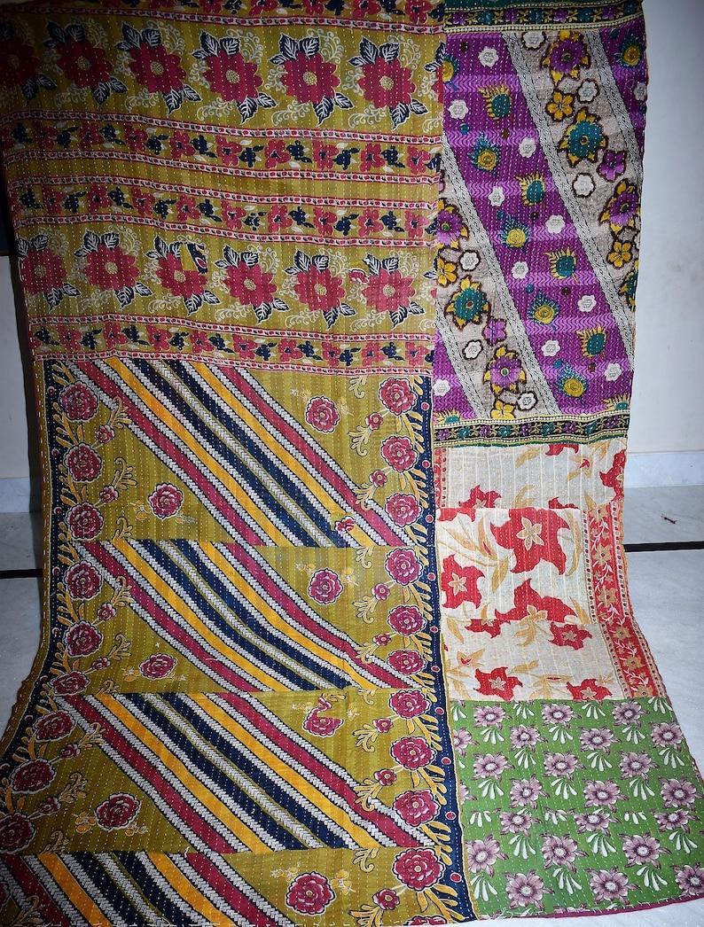 Twin Sari Reversible Kantha Quilt Vintage Sari Kantha Throw  705