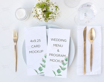 Wedding Program Mockup Wedding Stationery Mockup Styled