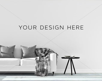Download Free Blank Wall Mockup/Styled Stock Photography/Mock-up/ Sofa mockup/Couch Mock up/Scandinavian/Poster Mockup/ Print Background/Modern Mockup PSD Template