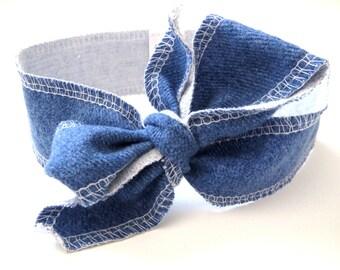 Denim Topknot Headband, Topknot, Headband, Baby Headband