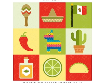 Digital Download - Cute Cinco De May Icons 2018 - Vector Clipart
