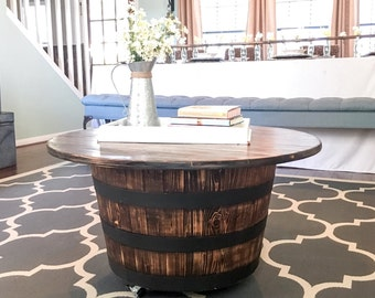 Whiskey barrel table - with casters