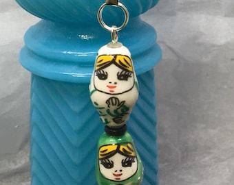 Ceramic Nesting Doll FOB: White/Green