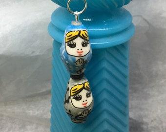 Ceramic Nesting Doll FOB: Blue/Gray