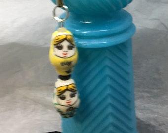 Ceramic Nesting Doll FOB: Yellow/Green