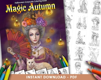 Printable Digital PDF Magic Autumn Halloween Grayscale Coloring Book Adult INSTANT DOWNLOAD