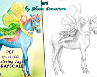 Coloring Page PDF Grayscale Fairy And Unicorn