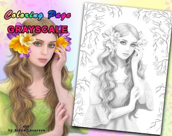PRINTABLE Coloring Page, Grayscale. fantasy fairy portrait (Adult coloring, Coloring page grayscale)