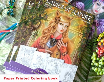 Paper colouring book. Printed High Quality Paper. Ladies of Nature. Light Grayscale.  by Alena Lazareva. Artist edition. Adult Coloring Book