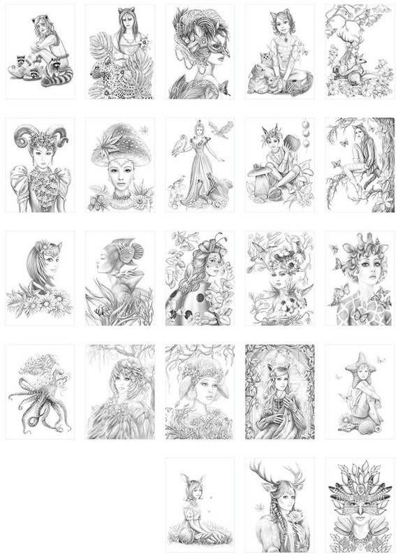PDF coloring book - Ladies of Nature. Grayscale Coloring book. (Adult  Coloring, Printable. digital coloring book . INSTANT DOWNLOAD )