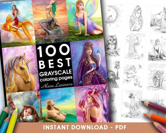 Pdf Coloring Book 100 Best Grayscale Coloring Pages By Alena Lazareva Adult Coloring Coloring Book Grayscale Instant Download
