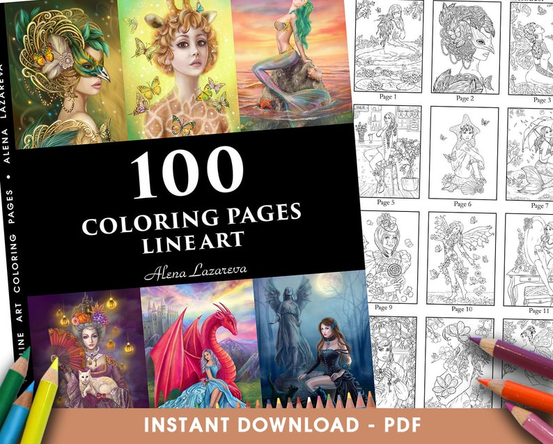 Pdf Coloring Book 100 Coloring Pages Line Art By Alena Lazareva Adult Coloring Instant Download Mermaids Fairy Unicorns Fashion Dragons