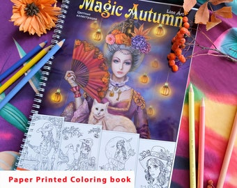 Paper colouring book. Printed High Quality Paper. Magic Autumn Line art by Alena Lazareva. Artist edition. Adult Coloring Book. Spiral Bound