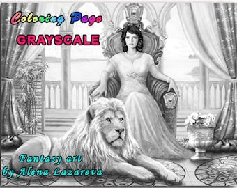 Coloring Page, Grayscale illustration , The queen on a throne and a lion.