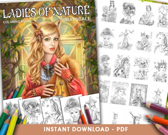 Pdf Coloring Book Ladies Of Nature Grayscale Coloring Book Etsy