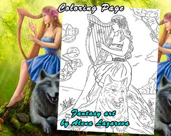 Coloring Page,  fantasy fairy and wolf