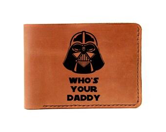 Darth Vader Wallet  Mens Leather Wallet Darth Vader Bifold Wallet Engraved Wallet Personalized gift Custom Wallet Star Wars gift geeky gift