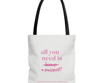 All You Need Tote Bag for Solo Travel Girls - White and Pink with Black Handle