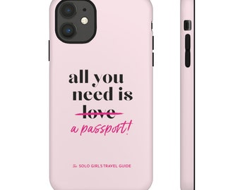 Passport Iphone 11 Case for Solo Travel Girls - Pink and Black