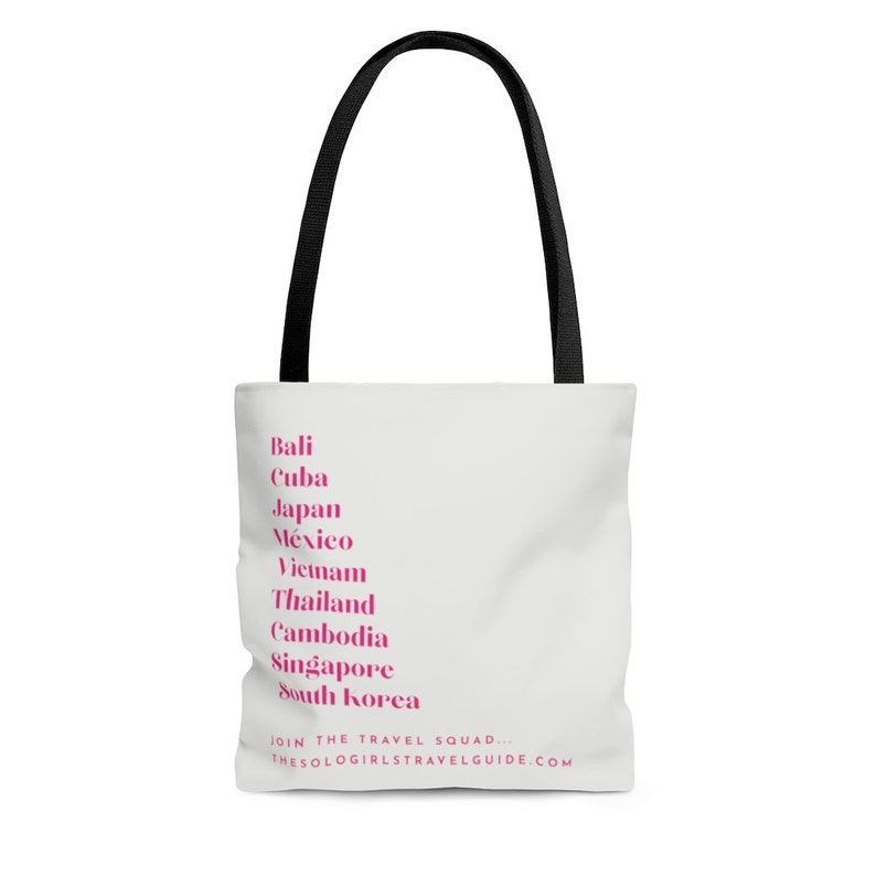 Travel Bucket List Tote Bag for Solo Travel Girls  White and image 0