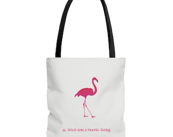 Travel Like a Girl - Flamingo Tote Bag for Solo Travel Girls - White and Pink with Black Handle