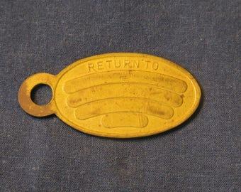 RARE 1890/'S IF FOUND RETURN TO AND RECEIVE REWARD KEYCHAIN FOB ID TAG DOG TAG