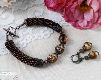 Gemstone brown bracelet Agate beaded jewelry set Inspiration gift idea for sister Dainty boho bracelet for her Woman jewelry gift