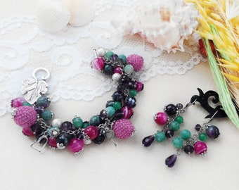 Woman beaded bracelet earring set Colorful bracelet Gem jewelry set Aventurine jewelry Tourmaline jewelry Charm bracelet  Birthday mum gift