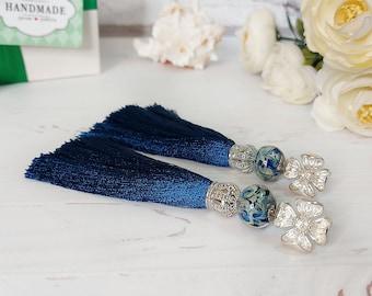 Denim blue silk earrings, 35th Birthday wife gift, Tassel earrings, Bohemian jewelry, Cobalt earrings, Long earrings, Flower stud earrings