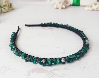 Malachite jewelry women, Boho wedding crown, Gemstone hair band, Crystal head piece, Statement headband, Bridal tiara, Jeweled hairpiece