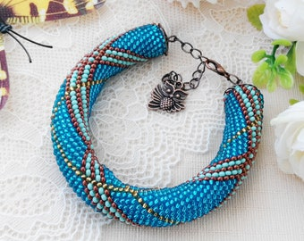 Xmas gift-for-girlfriend Blue bohemian bracelet Christmas gifts-for-mom Elegant unique bracelet Boho chunky jewelry gift Stretch bracelet