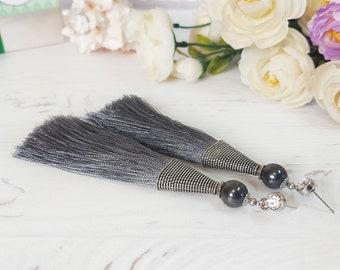 Tassel earring, Boho earrings, Silk grey Hematite earrings, Fringe chandelier earrings, 30th birthday friend gift, Long earrings bridesmaid