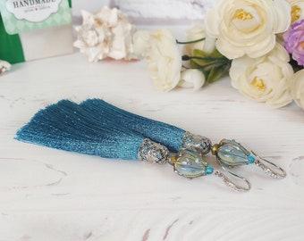 Turquoise tassel earrings, Flower earrings, Summer earrings, Blue silk earrings, Statement jewelry, Floral earrings, Dangle fringe jewelry