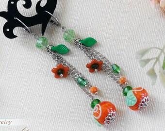 Pumpkin earrings, Halloween earrings, Gift for girlfriend, Long dangle earrings, Cluster earrings, Autumn jewelry, Woodland fall earrings