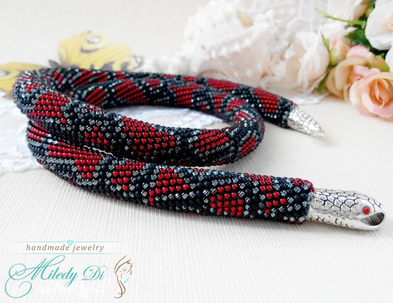 Red snake jewelry Beaded crochet necklace Trending gift for wife Red snake necklace Birthday gift for mum Bohemian python jewelry gift