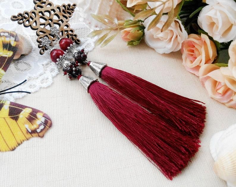 Burgundy red tassel earrings Woman boho earrings Fringe long Burgundy