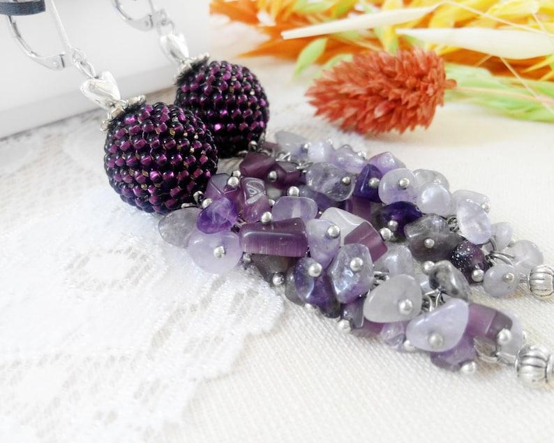 Lavender Amethyst earrings February Birthstone jewerly Seed bead gemstone earrings Beauty mom gift Pom Pom earrings Purple cluster earrings