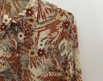 10% OFF!1970s Floral Button Up Shirt