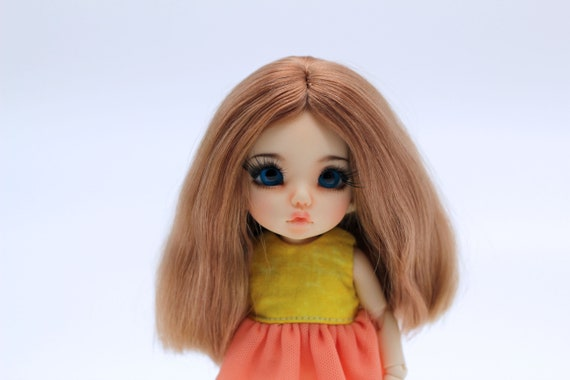 """1//4 1//6 bjd 5-6/"""" head synthetic mohair brown copper doll wig tiny iplehouse lati"""