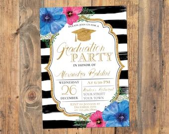 Graduation Party Invitation Graduation Invitation Template Etsy
