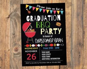 Graduation invitations etsy graduation bbq party invitation graduation bbq invitation graduation barbecue party invitation chalkboard graduation invitation printable filmwisefo